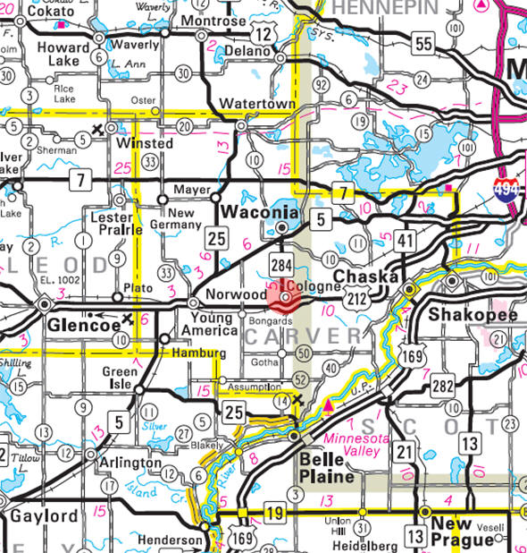 Minnesota State Highway Map of the Cologne Minnesota area