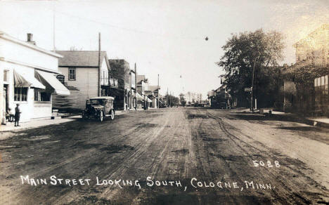 Main Street looking south, Cologne Minnesota, 1920's