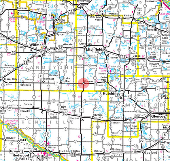 Minnesota State Highway Map of the Cosmos Minnesota area