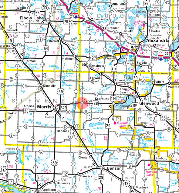 Minnesota State Highway Map of the Cyrus Minnesota area