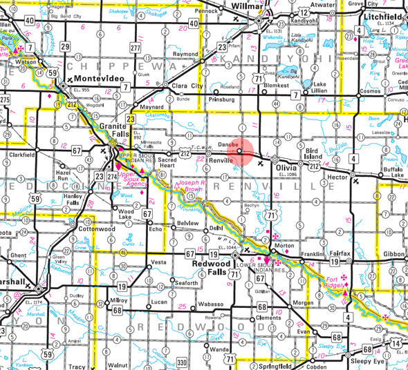 Minnesota State Highway Map of the Danube Minnesota area