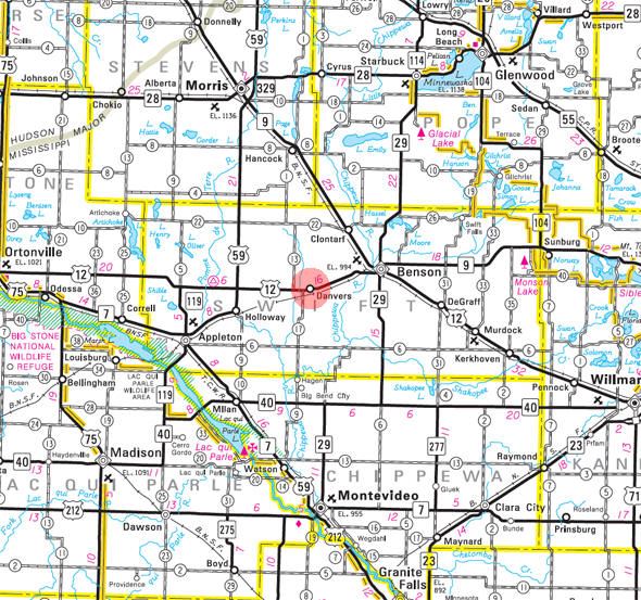 Minnesota State Highway Map of the Danvers Minnesota area