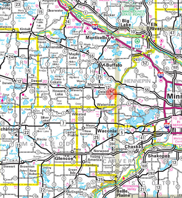 Minnesota State Highway Map of the Delano Minnesota area