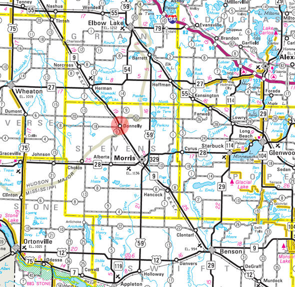 Minnesota State Highway Map of the Donnelly Minnesota area