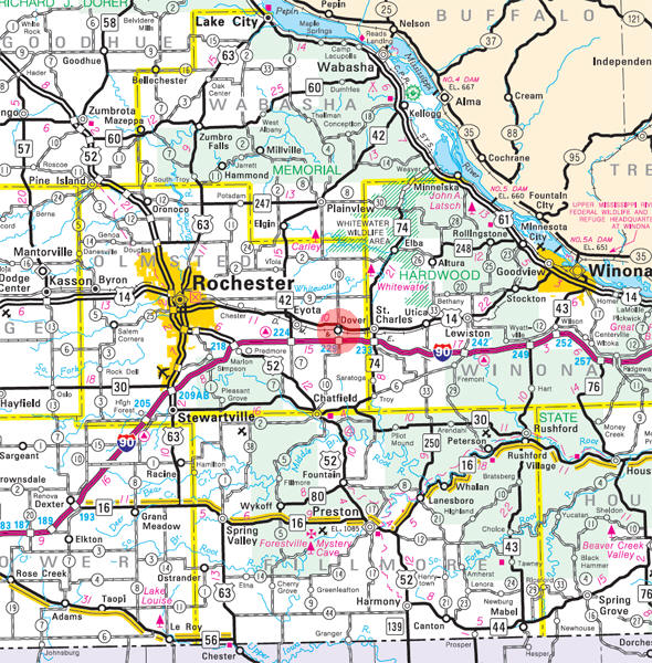 Minnesota State Highway Map of the Dover Minnesota area