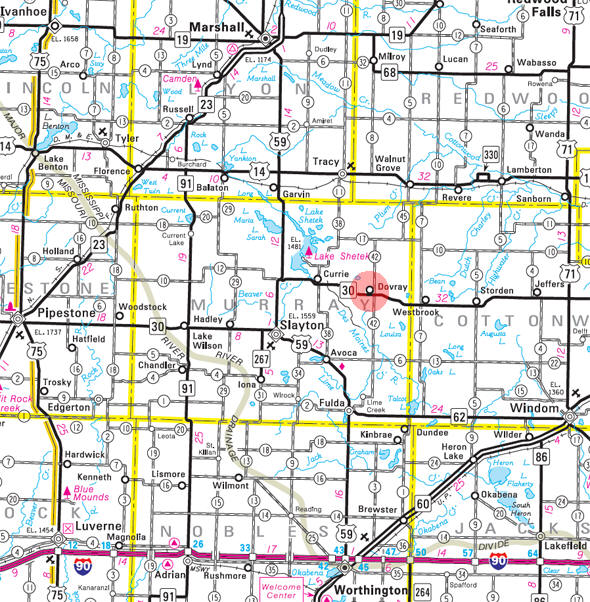Minnesota State Highway Map of the Dovray Minnesota area
