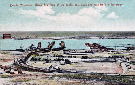Birds eye view of the ore docks, coal docks, and racetrack in foreground, Duluth Minnesota, 1910