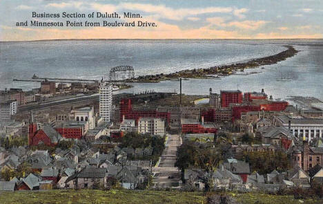 Business section of Duluth Minnesota and Minnesota Point from Boulevard Drive, 1914