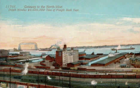 Duluth Harbor and Railroad Yards, Duluth Minnesota, 1914