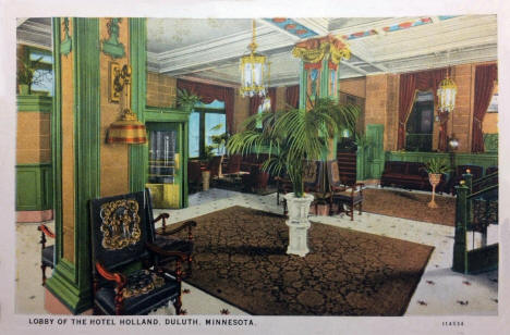 Lobby of the Hotel Holland, Duluth Minnesota, 1929