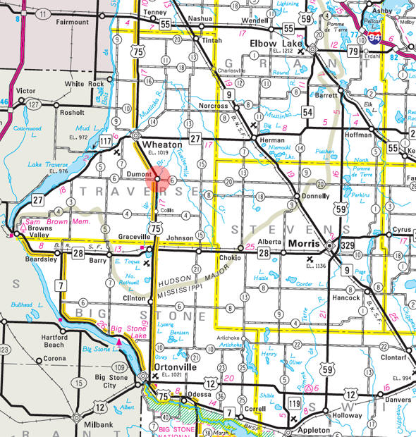 Minnesota State Highway Map of the Dumont Minnesota area