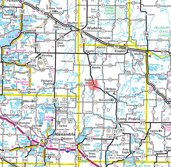 Minnesota State Highway Map of the Eagle Bend Minnesota area