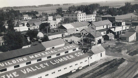 Birds eye view, Valley Lumber Company and surrounding area, East Grand Forks Minnesota, 1910's