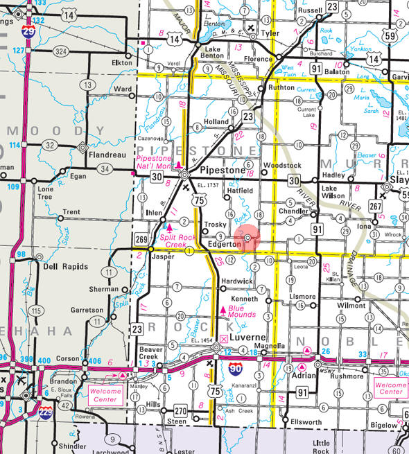 Minnesota State Highway Map of the Edgerton Minnesota area
