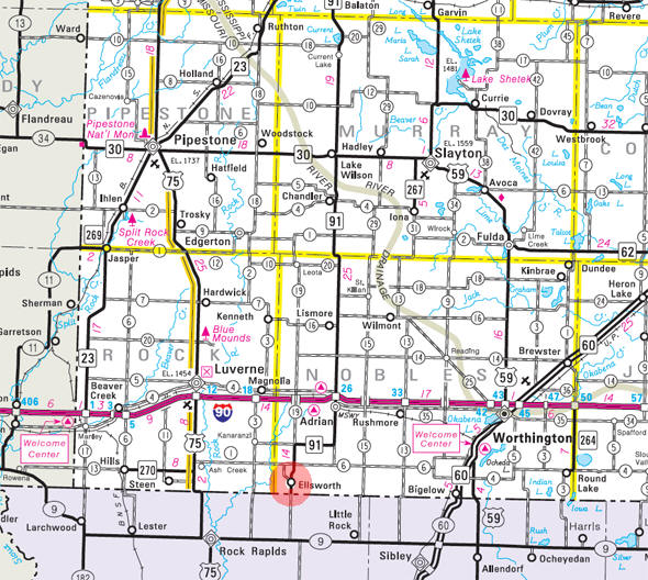 Minnesota State Highway Map of the Ellsworth Minnesota area
