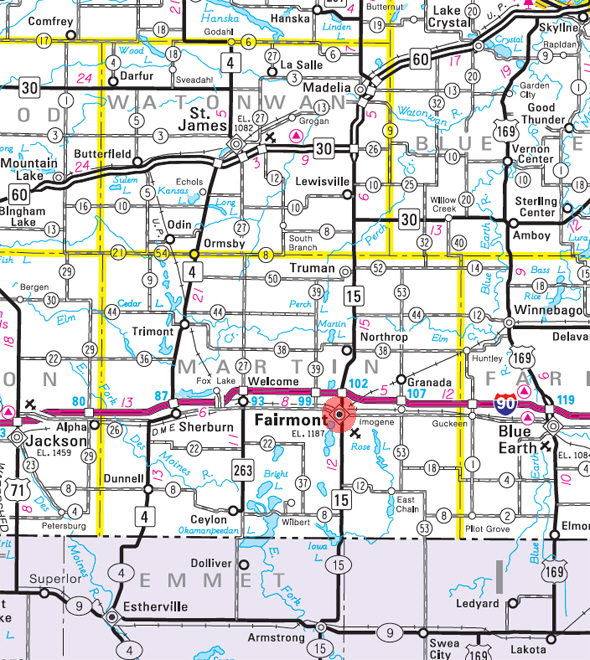 Minnesota State Highway Map of the Fairmont Minnesota area