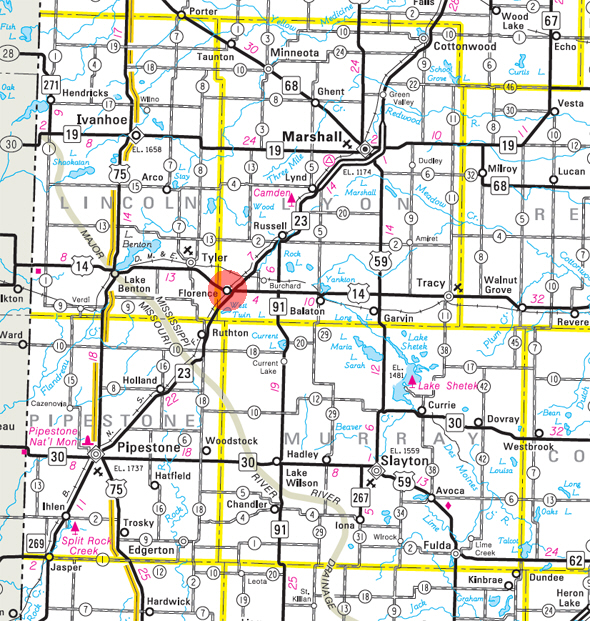 Minnesota State Highway Map of the Florence Minnesota area