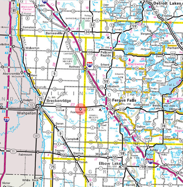 Minnesota State Highway Map of the Foxhome Minnesota area