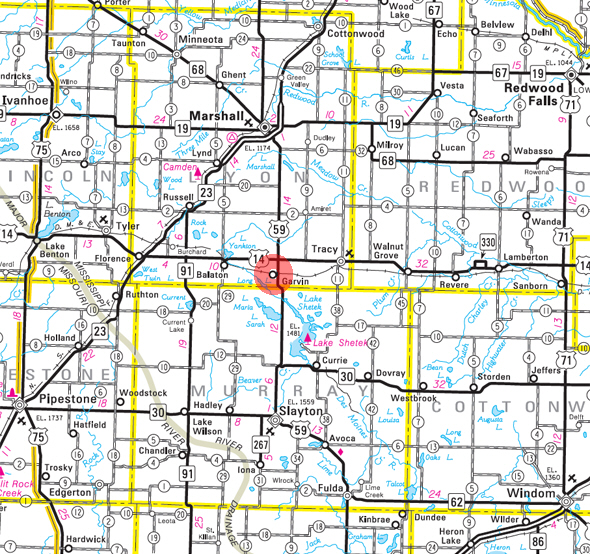 Minnesota State Highway Map of the Garvin Minnesota area