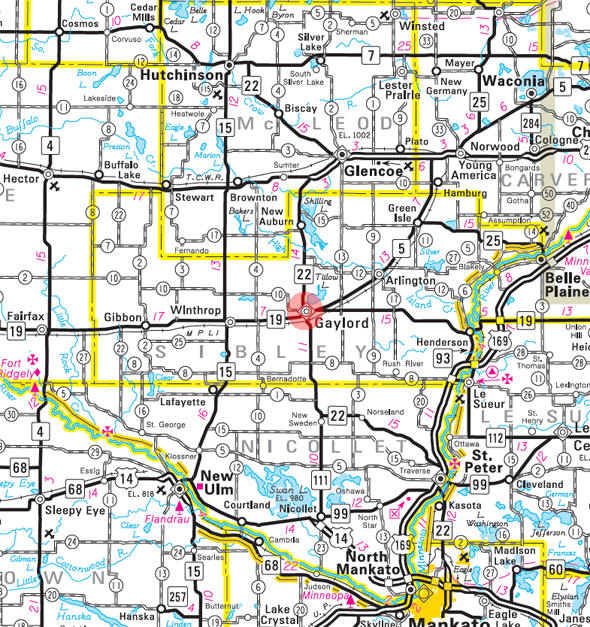 Minnesota State Highway Map of the Gaylord Minnesota area