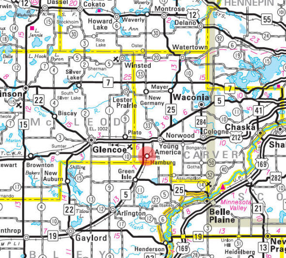 Minnesota State Highway Map of the Hamburg Minnesota area