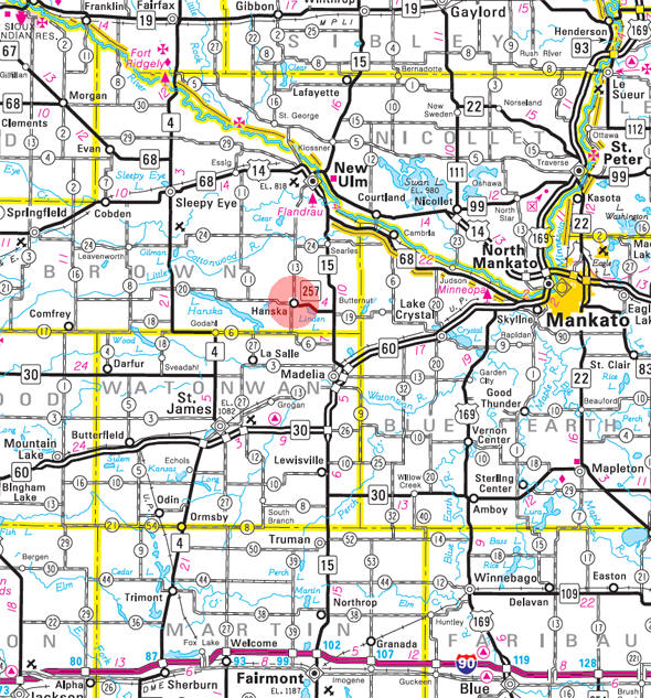 Minnesota State Highway Map of the Hanska Minnesota area