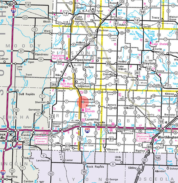 Minnesota State Highway Map of the Hardwick Minnesota area