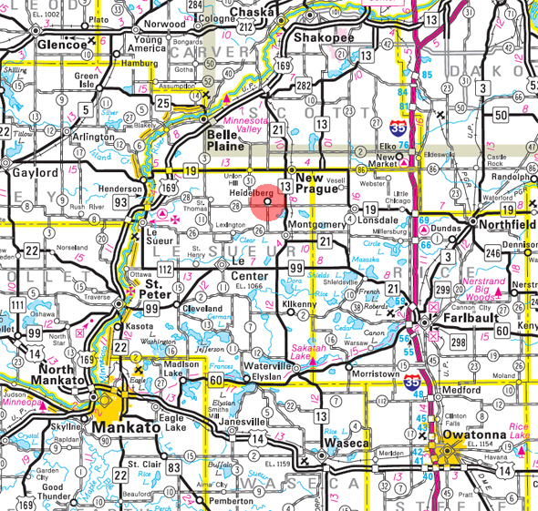 Minnesota State Highway Map of the Heidelberg Minnesota area