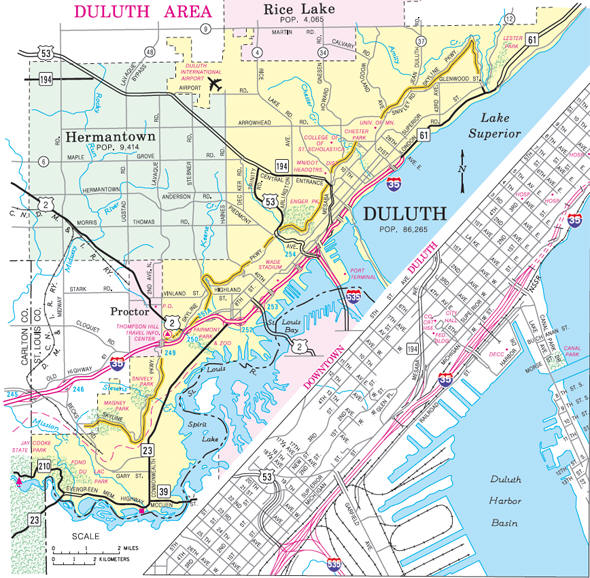 Minnesota State Highway Map of the Duluth and Hermantown Minnesota area