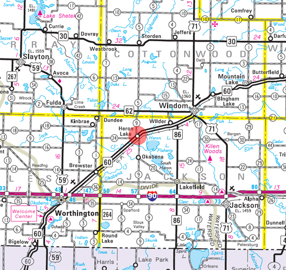 Minnesota State Highway Map of the Heron Lake Minnesota area