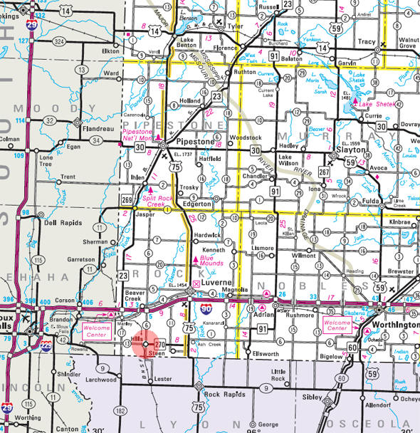 Minnesota State Highway Map of the Hills Minnesota area