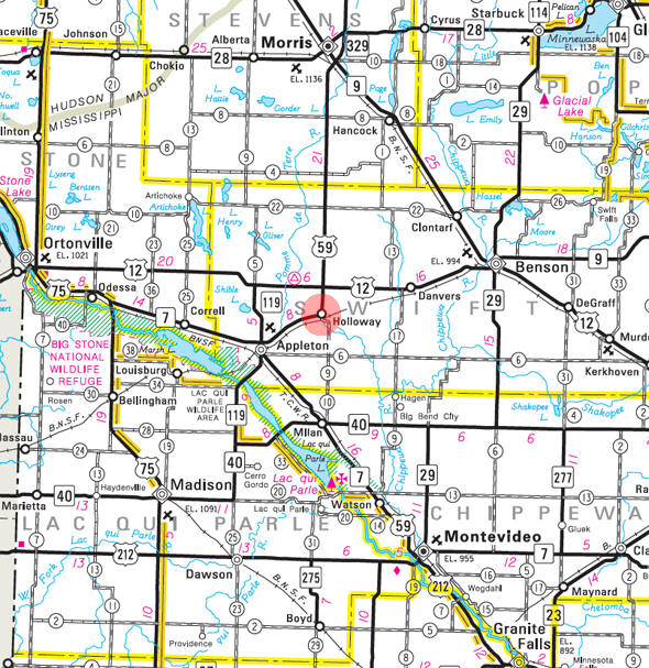 Minnesota State Highway Map of the Holloway Minnesota area