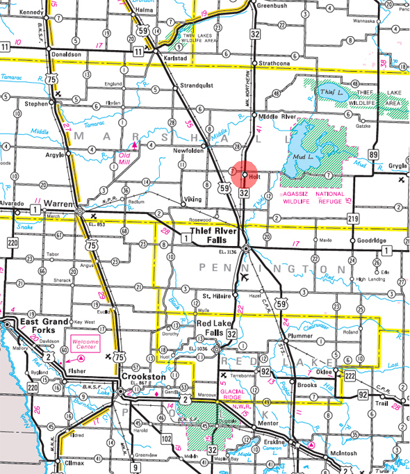 Minnesota State Highway Map of the Holt Minnesota area