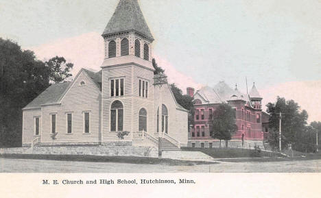 Methodist Episcopal Church and High School, Hutchinson Minnesota, 1908