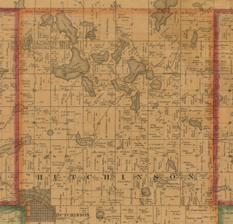 Plat map of Hutchinson Township (northern half), McLeod County, Minnesota, 1880