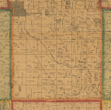 Plat map of Hutchinson Township (southern half), McLeod County, Minnesota, 1880