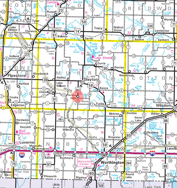 Minnesota State Highway Map of the Iona Minnesota area