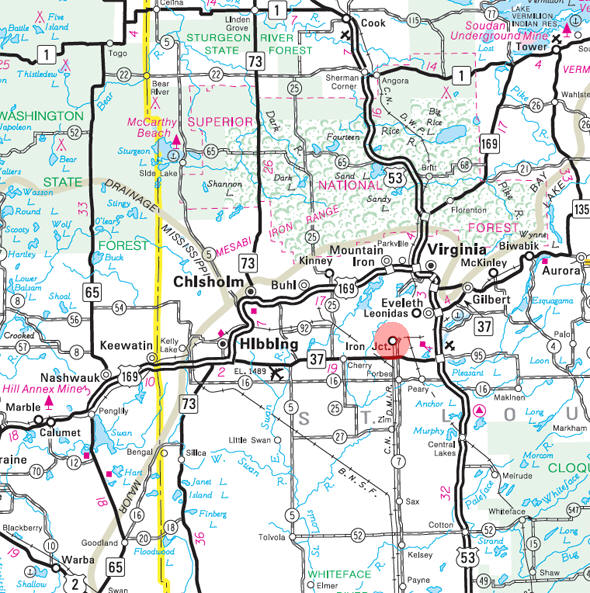 Minnesota State Highway Map of the Iron Junction Minnesota area