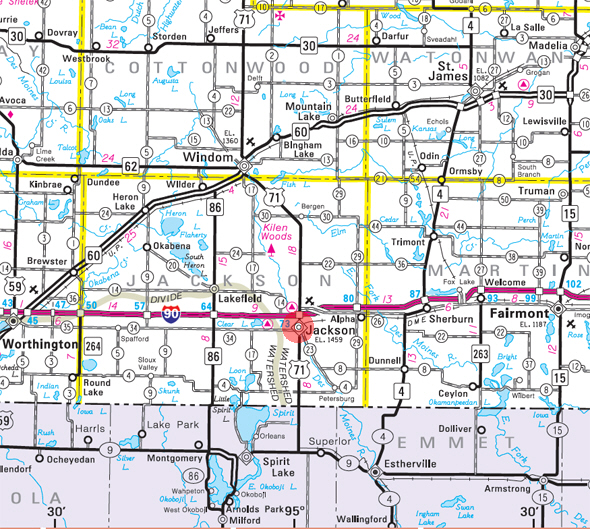 Minnesota State Highway Map of the Jackson Minnesota area