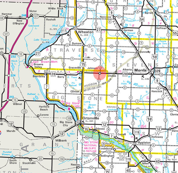 Minnesota State Highway Map of the Johnson Minnesota area