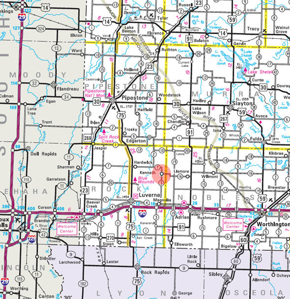 Minnesota State Highway Map of the Kenneth Minnesota area