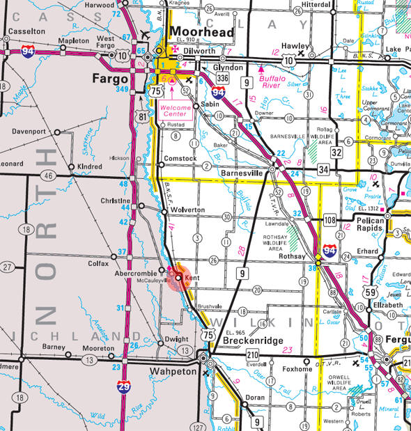 Minnesota State Highway Map of the Kent Minnesota area