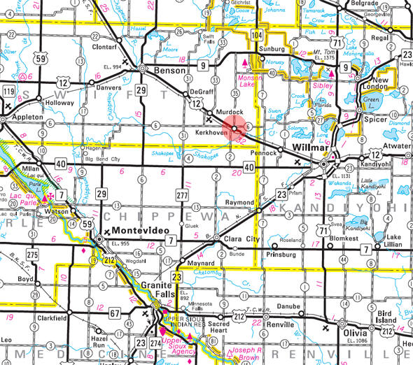 Minnesota State Highway Map of the Kerkhoven Minnesota area