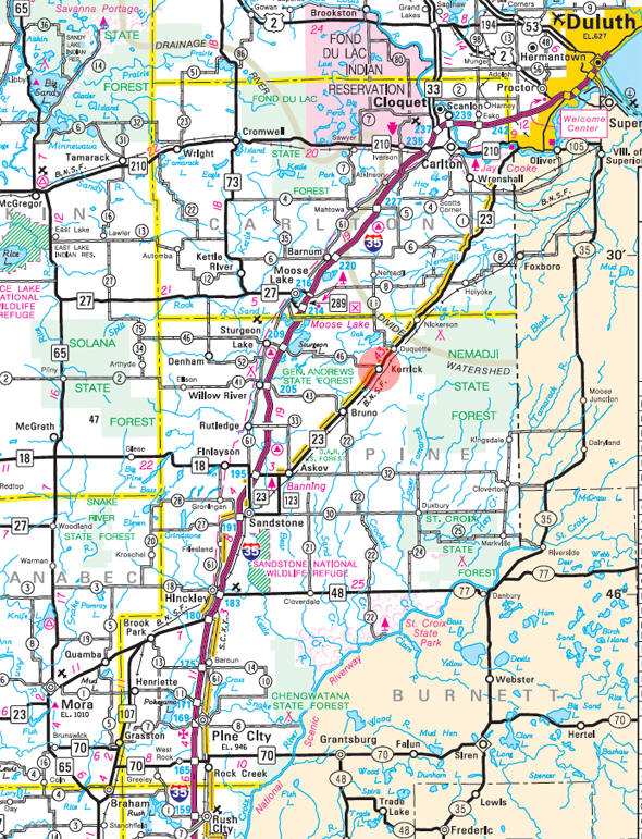 Minnesota State Highway Map of the Kerrick Minnesota area