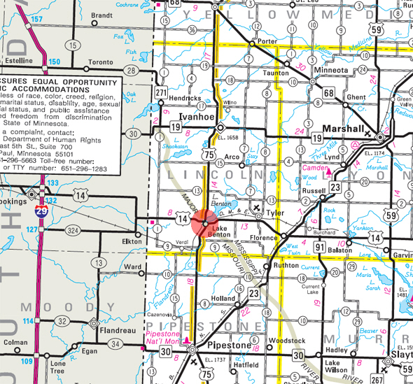 Minnesota State Highway Map of the Lake Benton Minnesota area