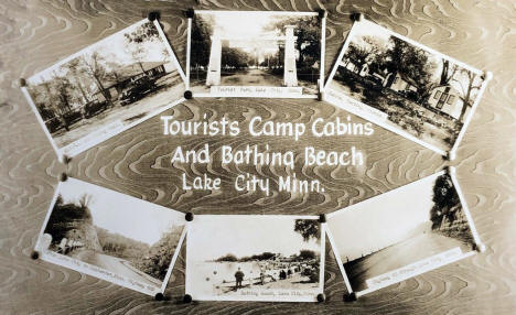 Tourist Camp Cabins and Bathing Beach, Lake City Minnesota, 1930's