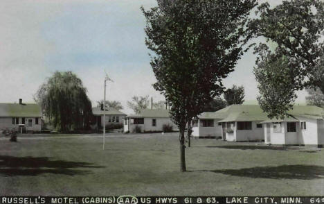 Russell's Motel Cabins, Lake City Minnesota, 1940's