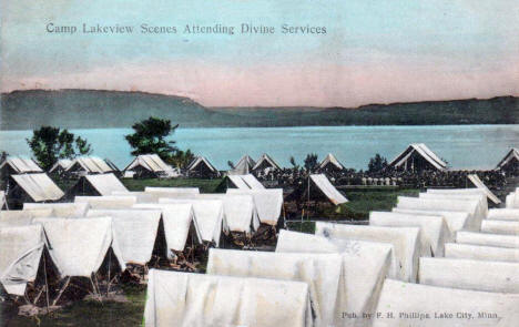 Attending Divine Service, Camp Lakeview, Lake City Minnesota, 1909