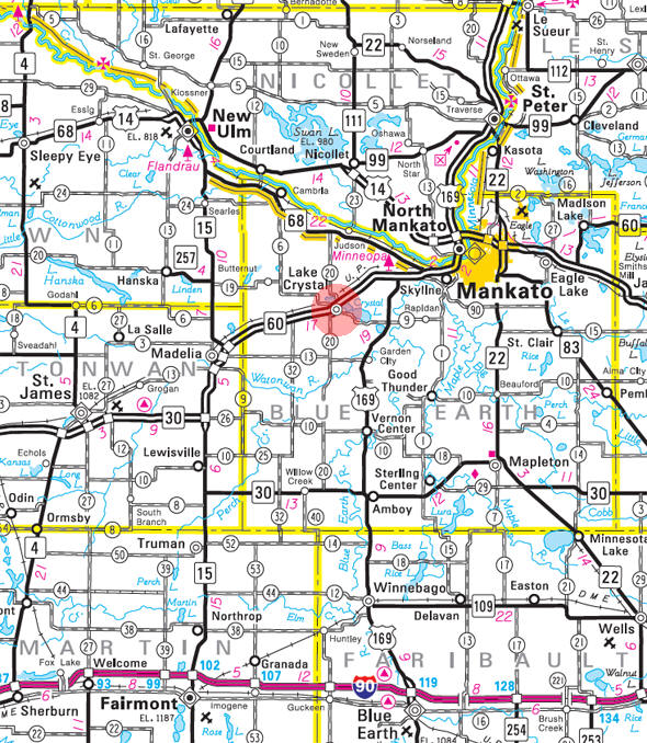 Minnesota State Highway Map of the Lake Crystal Minnesota area