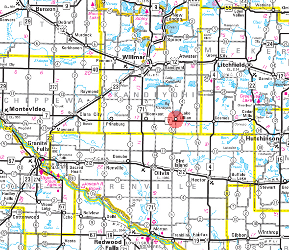 3622a768e511 Minnesota State Highway Map of the Lake Lillian Minnesota area